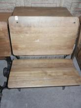 School Desk & Chair in Front W/Wrought Iron Frame- Crack in Seat- Shipping Not Available for this Item Pick up Only!