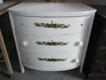 Antique Painted White Curved Front 3 Drawer Dresser, 3 Knobs Missing