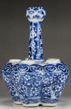 A Chinese Antique Blue & White Six (6) Hole Porcelain Vase