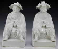 Pair of Chinese Blanc De Chine Porcelain Figures
