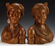 Pair Balinese Wood Carved Figures