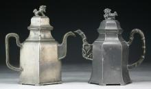 Two (2) Chinese Antique EXPORT Pewter Teapots