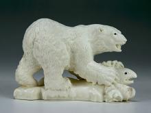A Chinese Antique Fossil Ivory Carved Bear Group