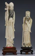 Two (2) Chinese Antique Ivory Carved Shoulao