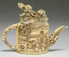 A Chinese Antique Ivory Carved Teapot
