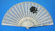 A Chinese Antique Carved Mother Of Pearl Fan