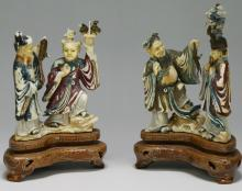 Two (2) Chinese Antique Polychrome Ivory Carved Figure Groups