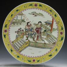 A Big Chinese Antique Famille Rose Porcelain Plate