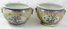 Pair Big Chinese Antique Famille Rose Porcelain Bowls