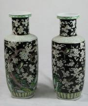 Pair of Massive Chinese SUSANCAI Porcelain Vases