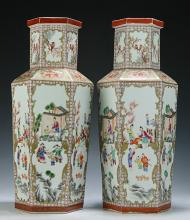 Pair of Massive Chinese Famille Verte Porcelain Vases