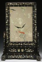 A Chinese Antique Framed Embroidery Table Screen