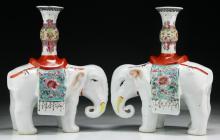 Pair Chinese Antique Famille Rose Porcelain Elephants