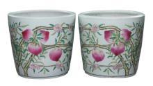 Pair Chinese Antique Famille Rose Porcelain Jars