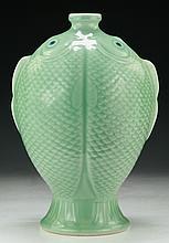A Chinese Celadon Glazed Porcelain Fish Vase