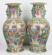 Pair Massive Chinese Rose Medallion Porcelain Vases