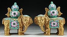 Pair Chinese Famille Rose Porcelain Elephants