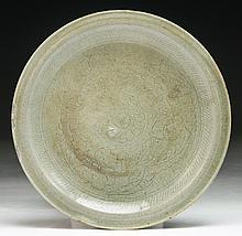 A Chinese Antique Incised Celadon Glazed Porcelain Plate