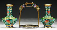 Three (3) Chinese Cloisonne On Bronze Items
