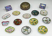 Fifteen (15) Chinese Cloisonne On Bronze Plates & Boxes