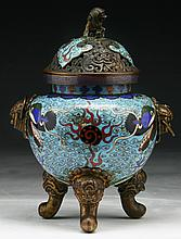 A Chinese Antique Cloisonne On Bronze Censer