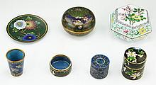Seven (7) Chinese Cloisonne On Bronze Items