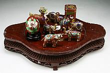 Nine (9) Chinese Cloisonne On Bronze Items On Stand