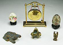 Six (6) Chinese Cloisonne & Bronze Items