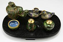 Six (6) Chinese Cloisonne On Bronze Items On Stand