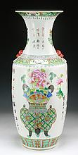 A Big Chinese Antique Famille Rose Porcelain Vase