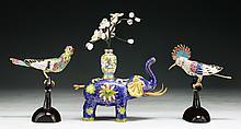 Three (3) Chinese Cloisonne Bonze Birds & Elephant