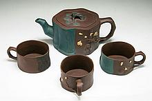 Four (4) Chinese Zisha Teapot And Cups