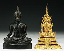 Two (2) Antique Bronze Buddhas