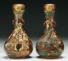 Pair of Japanese Antique Gilt Satsuma Porcelain Vases