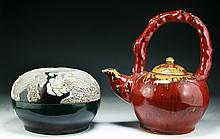 Two Big Porcelain Teapot And Bowl With Cover
