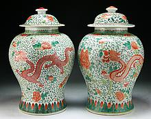 Pair Big Chinese Antique Famille Rose Porcelain Jars