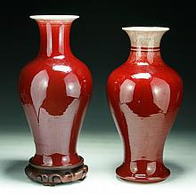Two (2) Chinese Antique Ox-Blood Glazed Porcelain Vases