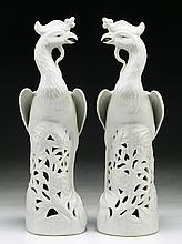 Pair of Chinese Antique White Glazed Porcelain Phoenix