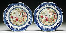 Pair of Chinese Antique Blue & White Famille Rose Porcelain Plates