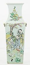 A Chinese Antique Famille Rose Square Porcelain Vase