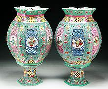 Pair Chinese Antique Famille Rose Porcelain Lamp Shades