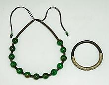 Two (2) Silver Bangle & Peking Glass Necklace