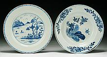 Pair Chinese Antique Blue & White Porcelain Plates