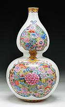 A Chinese Famille Rose Porcelain Gourd Shaped Vase