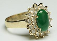 Green Jadeite Ring, 14k Gold & Diamonds