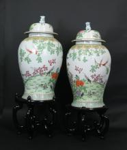 Pair Massive Chinese Antique Famille Rose Vases