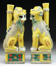 Pair Chinese Antique Yellow Glazed Porcelain Lions
