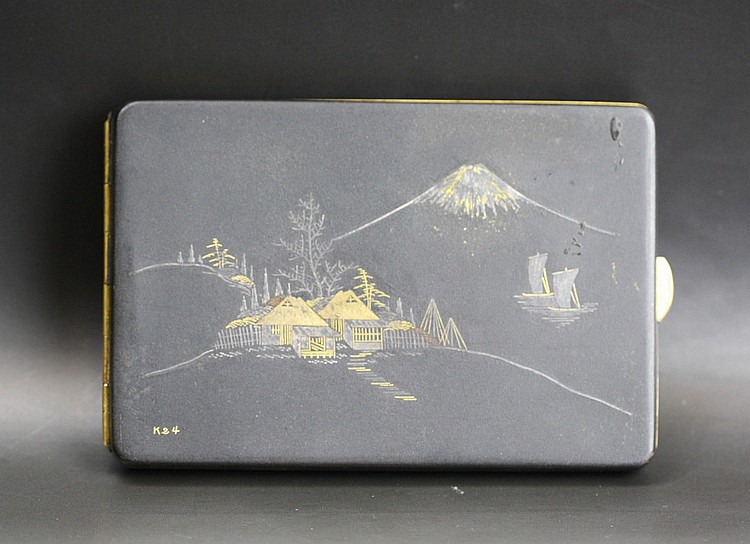 Japanese Engraved Damascene Cigarette Case