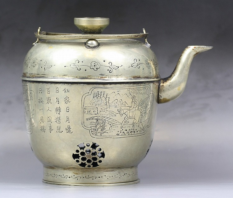 An Antique Chinese White Brass Teapot