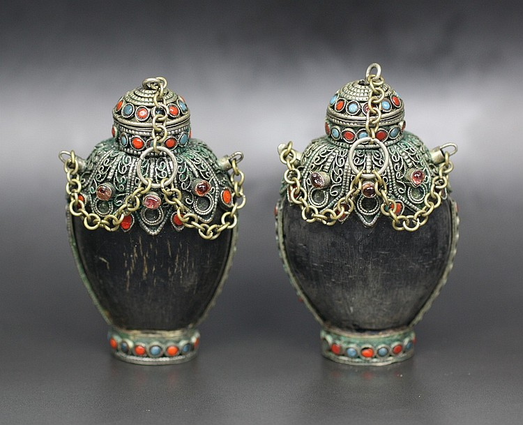 Pair Of Tibetan Jeweled Horn Snuff Bottles